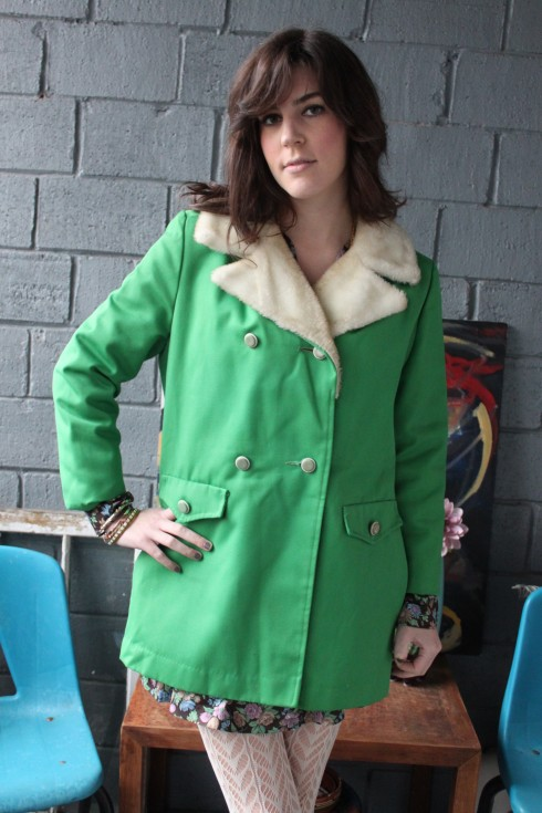 70's kelly green faux fur peacoat jacket allweather coat m/l
