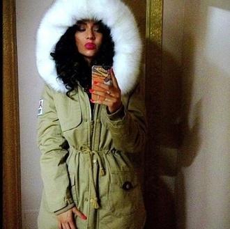 jacket green fur white fur parka winter outfits weiss kapuze fell