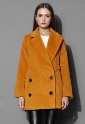 chicwish,old-school coat,mustard wool-blend coat