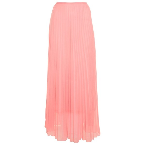 True Decadence Peach Pleated Maxi Skirt - Polyvore