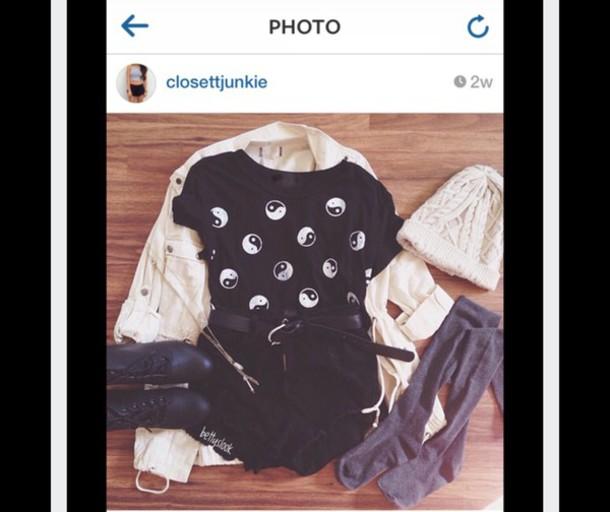shirt black yin yang yin yang shirt