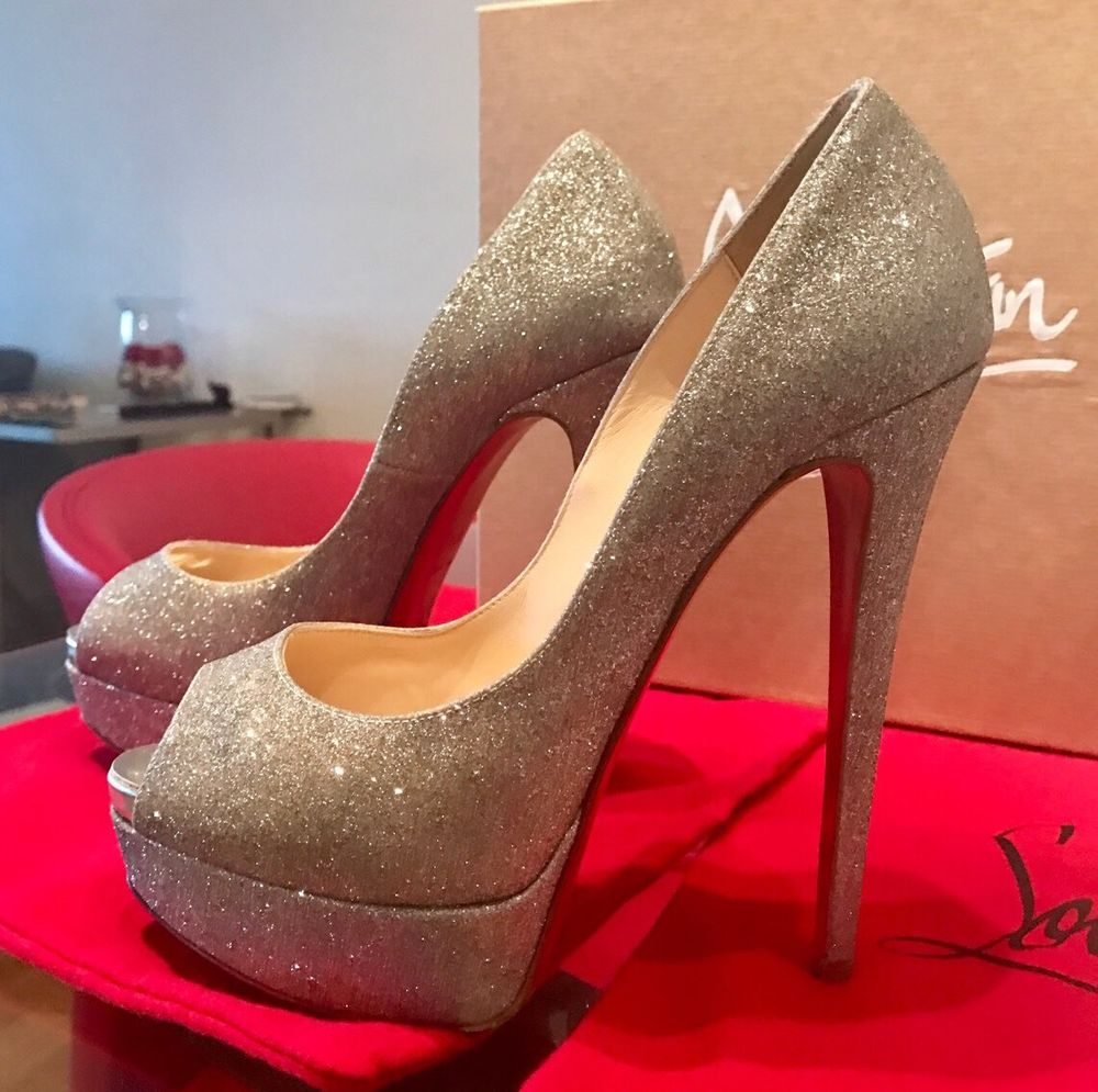 6ec6b8a155a5 Authentic Christian Louboutin Lady Peep 150 Glitter Silver 37.5 Shoes ...