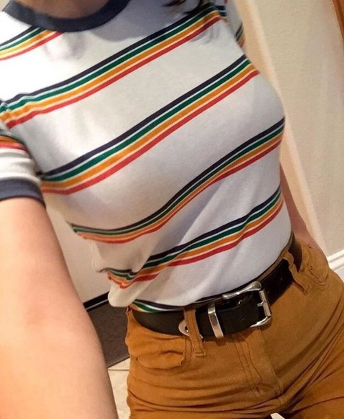b0ee284594 shirt t-shirt color/pattern red orange yellow green blue black rainbow  striped top