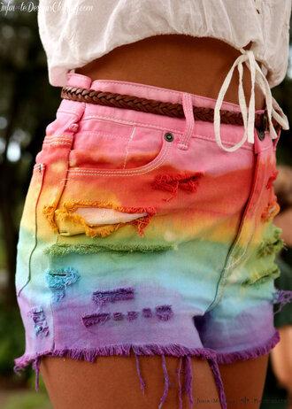 shorts rainbow high-waisted