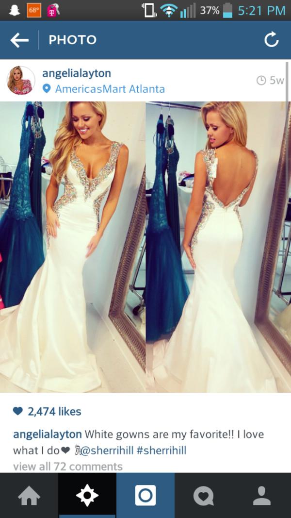 sherri hill white dress sequined prom dress deep v dress dress prom dress beaded dress silver sequins