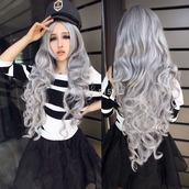 hair accessory,wig,cosplay,grey,anime,manga,japan,japanese,japanese fashion,lolita wig,lolita,gothic lolita,pastel goth,kawaii,silver