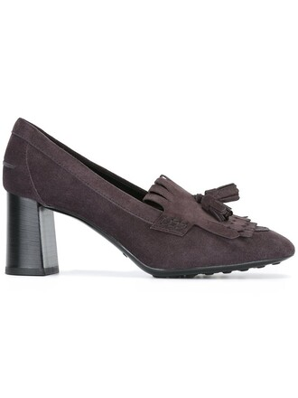 tassel women pumps leather suede brown shoes