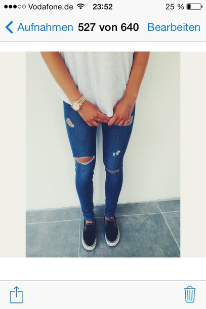 jeans destroyed skinny jeans ripped jeans blue jeans fashion style shoes jewels