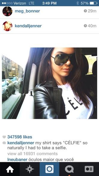 sunglasses kendall jenner shirt kardashians celfie selfie celine