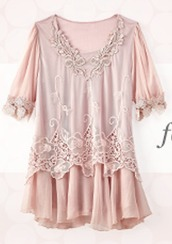 top,peasant,pink,light pink,baby,baby pink,flowers,zulily,embroidered,cute