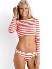 swimwear,vest,bikini 2016,women swimwear,long sleeves,beach,stripes,coral bikini,seafolly