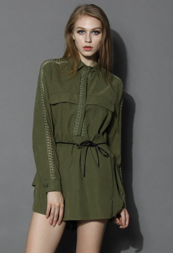 Army green belted tunic with crochet trim