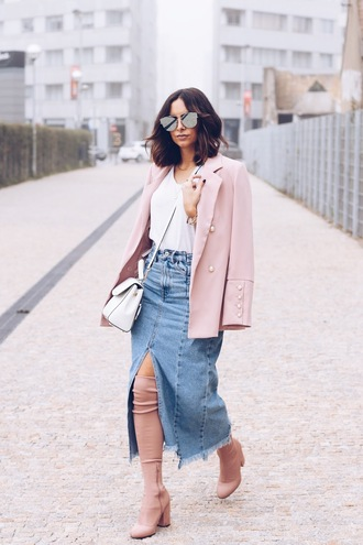 shoes tumblr boots pink boots ankle boots skirt midi skirt denim denim skirt blazer pink blazer bag white bag sunglasses