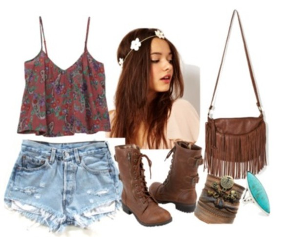 shirt blue dip dyed floral shorts cute red shoes girly boots combat boots indian boots flowers flower crown