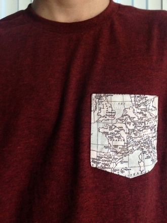 shirt red map t-shirt map print pocket t-shirt mens