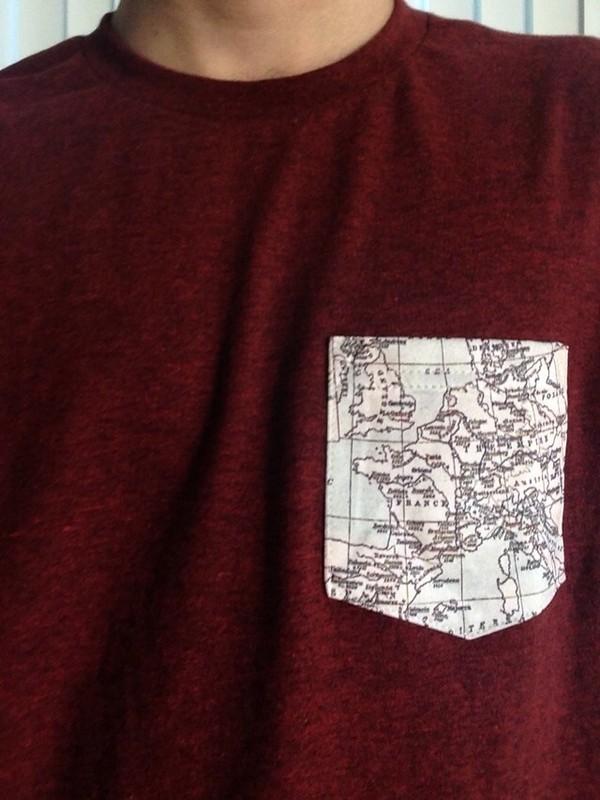 shirt red map t-shirt map print pocket t-shirt mens