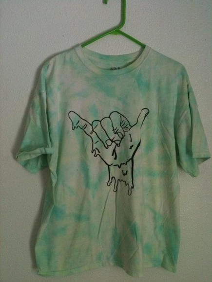 tie-dye t-shirt blue grunge green yellow hang ten