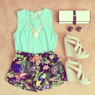 shoes ivory wedges high heel sandals summer flowers tank top shorts bag sunglasses shirt garden blue blouse statement necklace cute outfits flowered shorts black pink yellow beautifull mint clutch