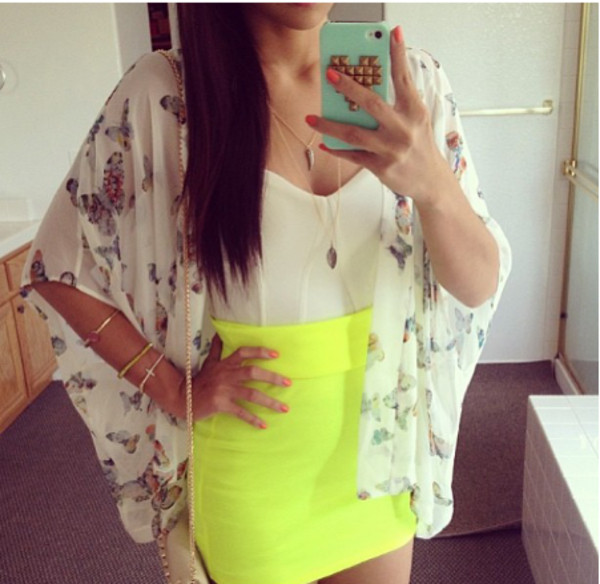 jacket summer skirt bag birds butterfly blouse blouse kimono kimono white kimono clothes clothes sweater floral white boho sheer butterfly cardigan butterfly pattern bodycon skirt bright neon skirt yellow girly outfit fashion top yellow skirt