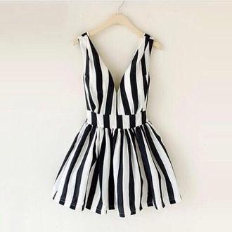 dress black white striped v neck