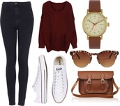 sweater,burgundy,knitted sweater,oversized sweater,winter sweater,cozy,jeans,sunglasses,jewels,shoes,back to school,fall outfits,bag,cardigan,wine cardigan,red cardigan,burgundy sweater,jumper,red,watch,brown,outfit,outfit idea,tumblr outfit