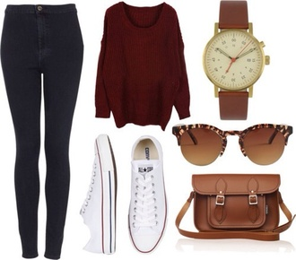 sweater burgundy knitted sweater oversized sweater winter sweater cozy jeans sunglasses jewels shoes back to school fall outfits bag jumper red watch brown outfit outfit idea tumblr outfit