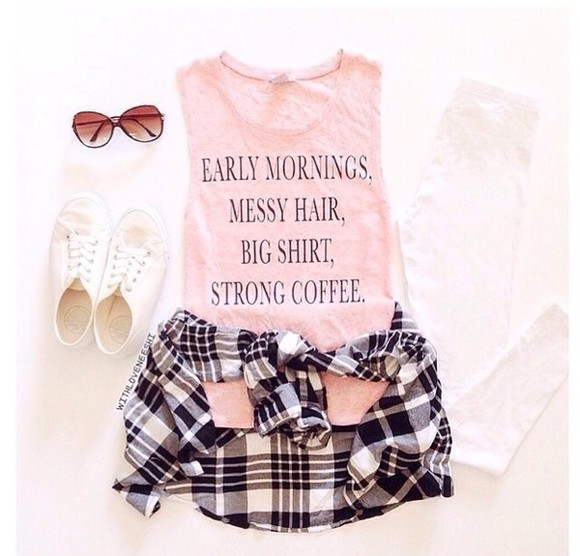 sunglasses cute style pink plaid shirt shorts top t-shirt quote on it
