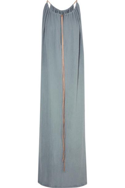 dress maxi dress denim maxi light leather cotton