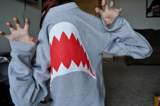 sweater shark jaws teeth grey