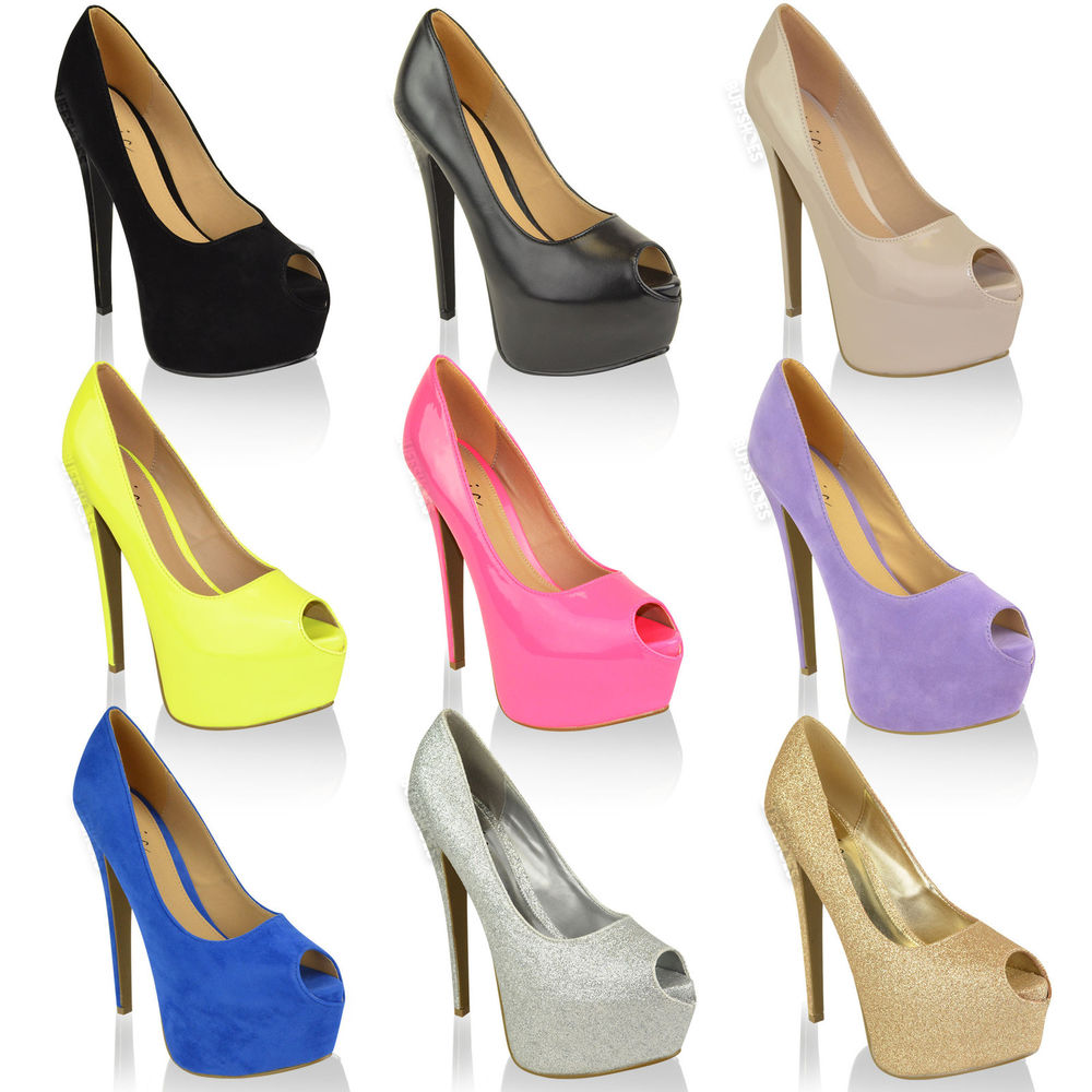 WOMENS LADIES HIGH HEELS PLATFORM PEEP TOE PARTY CLASSIC COURT SHOES PUMPS SIZE | eBay