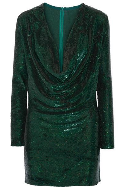 Ashish - Sequined Silk-georgette Mini Dress - Emerald