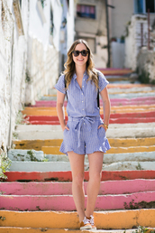 miami + dallas based lifestyle and fashion blog,blogger,romper,shoes,sunglasses,jewels,make-up,blue romper,button up,stripes,summer outfits