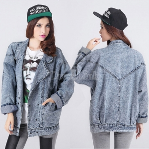 Women Loose double-breasted Long Sleeve Denim Coat