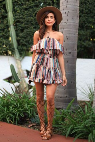 shoes colorful ruffle dress brown hat brown gladiators sandals blogger