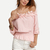 Pink Off The Shoulder Applique Crop Top -SheIn(Sheinside)