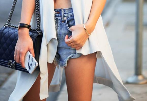 short style jacket vest denim