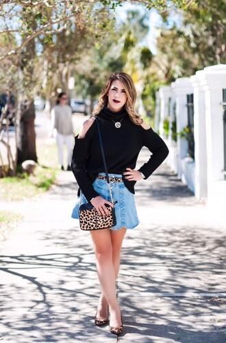 herestheskinny blogger sweater skirt belt bag shoes jewels make-up denim skirt shoulder bag cut out shoulder leopard print animal print bag animal print high heels