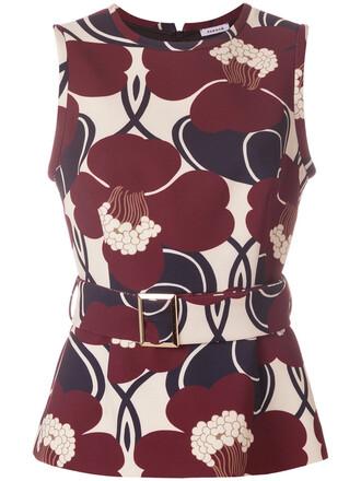 tank top top women spandex floral print red