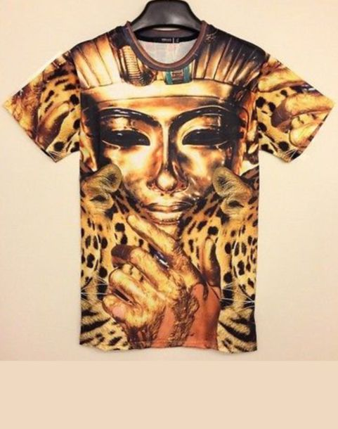 Shirt: gold, black, leopard print, pharoah - Wheretoget