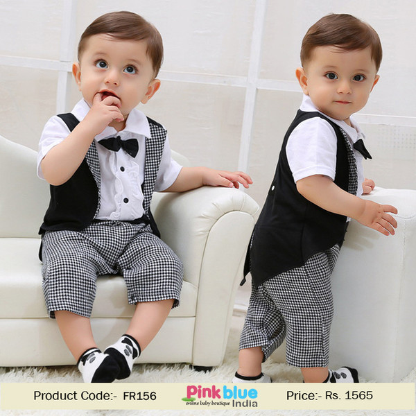 Romper First Birthday Dress Boy Party Suit Tuxedo Suit