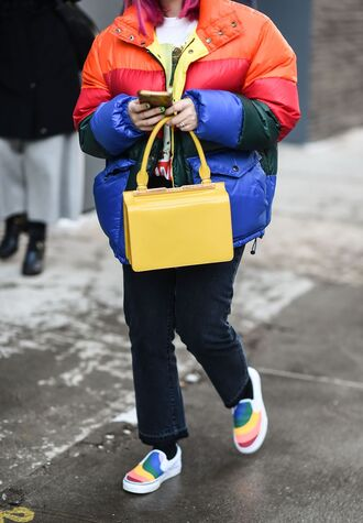 jacket nyfw 2017 fashion week 2017 fashion week streetstyle stripes striped jacket puffer jacket bag yellow yellow bag denim jeans black jeans curvy shoes colorful multicolor slip on shoes