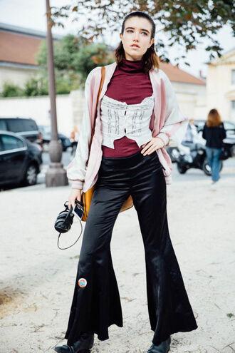 pants tumblr flare pants black pants burgundy burgundy top corset jacket pink jacket pink bomber jacket bomber jacket streetstyle