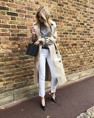coat tumblr trench coat denim jeans white jeans shoes mules sweater knit knitted sweater grey sweater bag black bag fall outfits