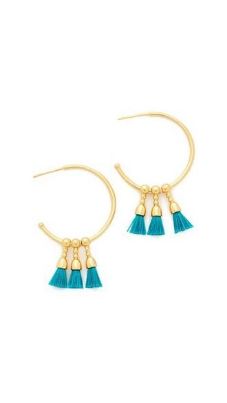 earrings hoop earrings gold teal jewels