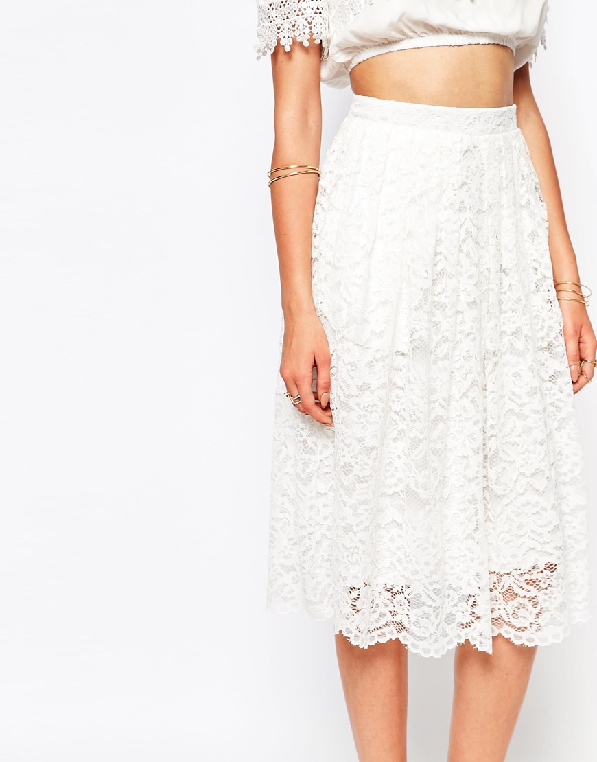 Premium Lace Full Midi Skirt at asos.com