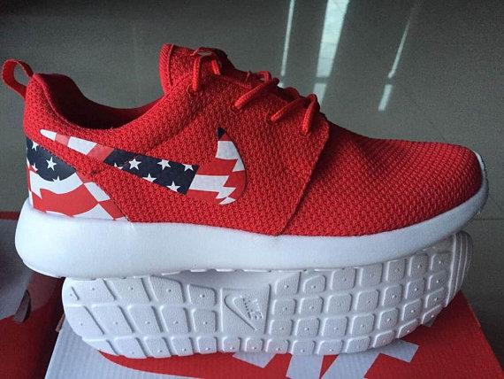 8eda244ef7e WOMENS SIZE Custom Roshe Run running shoes! American Flag ...