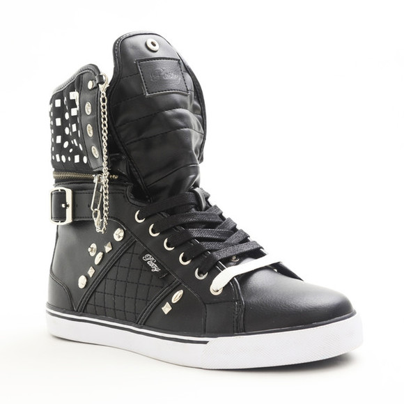 shoes chains pastry sneakers hi tops white studded punk rock studded boots black fucking awesome