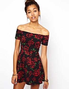 Motel | Motel Catalina Skater Dress In Tiger Rose Print at ASOS