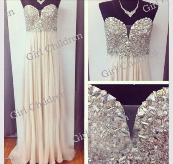 studs prom dress studded white prom