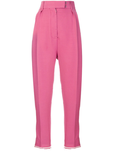 Haider Ackermann pleated high women cotton wool purple pink pants